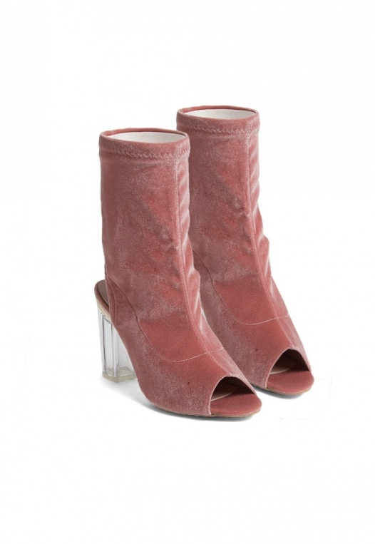 Leandra Velvet Cut Out Sock Heels in Blush alternate img #4