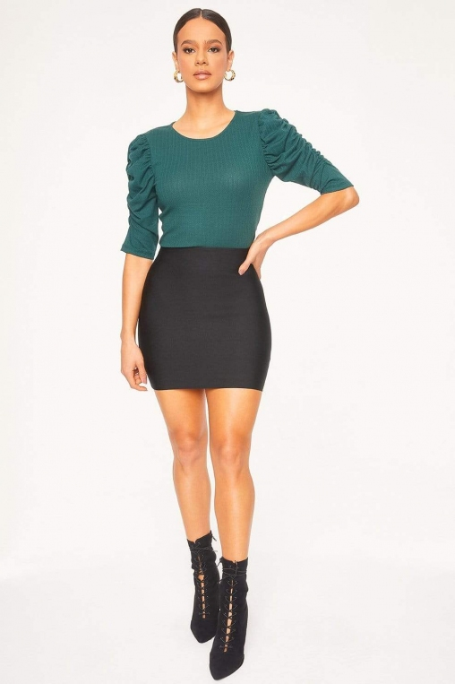 Ruched Cascade Sleeve Knit Blouse alternate img #3