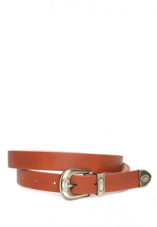 Skinny Western Buckle Jean Belt alternate img #1