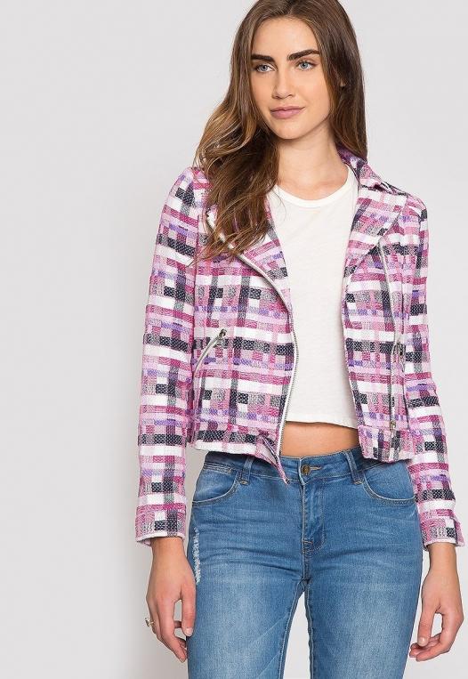 Ellen Plaid Moto Jacket alternate img #5
