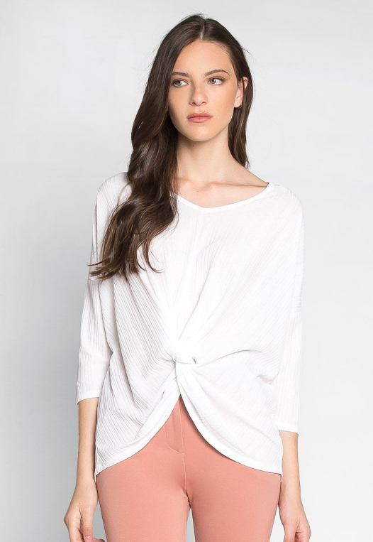 Always Fun Knot Front Blouse in White alternate img #3
