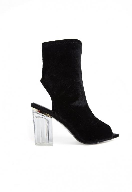 Leandra Velvet Cut Out Sock Heels in Black alternate img #1