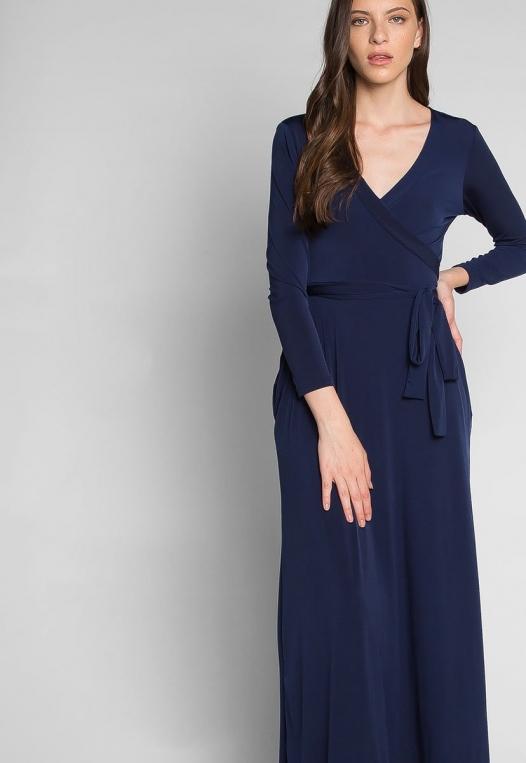 Katherine Wrap Maxi Dress in Navy alternate img #5