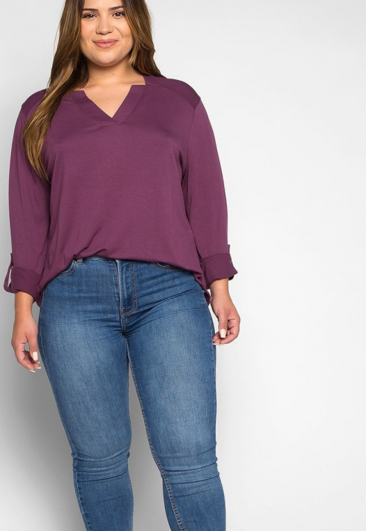 Plus Size Madeline Roll Tab Sleeve Blouse in Purple alternate img #5
