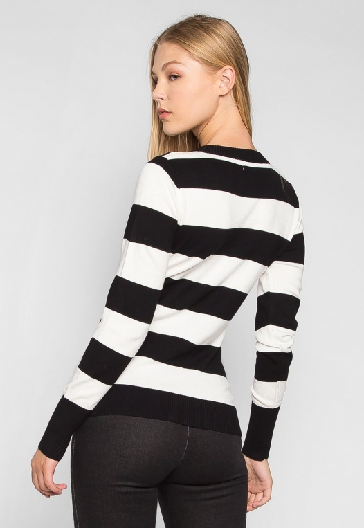 Be My Soulmate V-Neck Stripe Fitted Cardigan in Black alternate img #2