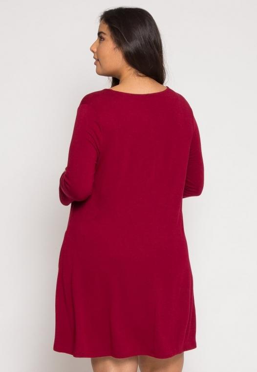 Plus Size Catwalk Tunic Knit Dress in Burgundy alternate img #4