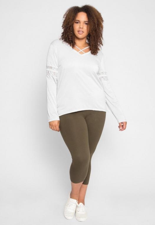 Plus Size University Raglan Sleeve Top in Ivory alternate img #5