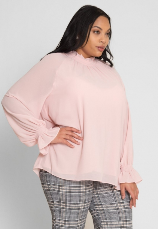 Plus Size Girly Chiffon Party Top in Blush alternate img #3