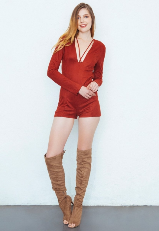 Cactus Faux Suede Romper in Rust alternate img #2