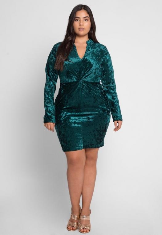 Plus Size Wild Velvet Party Dress in Green alternate img #4