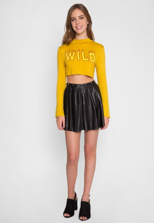 On Fire Wild Graphic Tee in Mustard alternate img #4