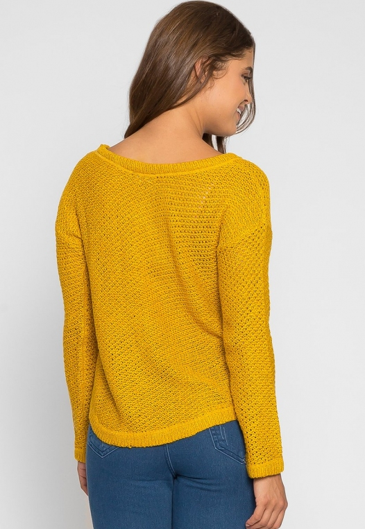 April Lace Up Sweater in Mustard alternate img #3