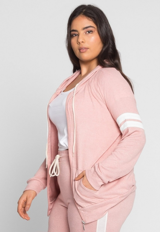 Plus Size Touchdown Zip Up Hoodie in Pink alternate img #1