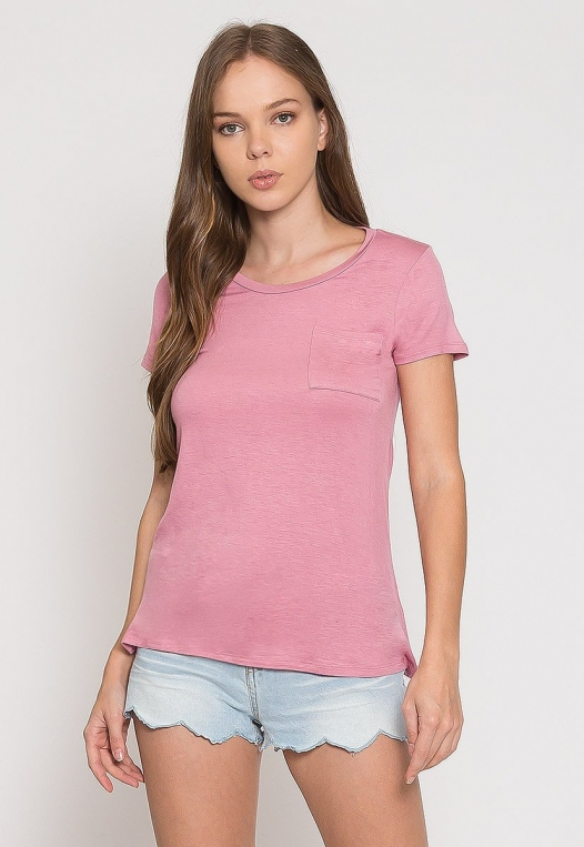 Oregon Oversized V-Neck Pocket Tee in Pink alternate img #1