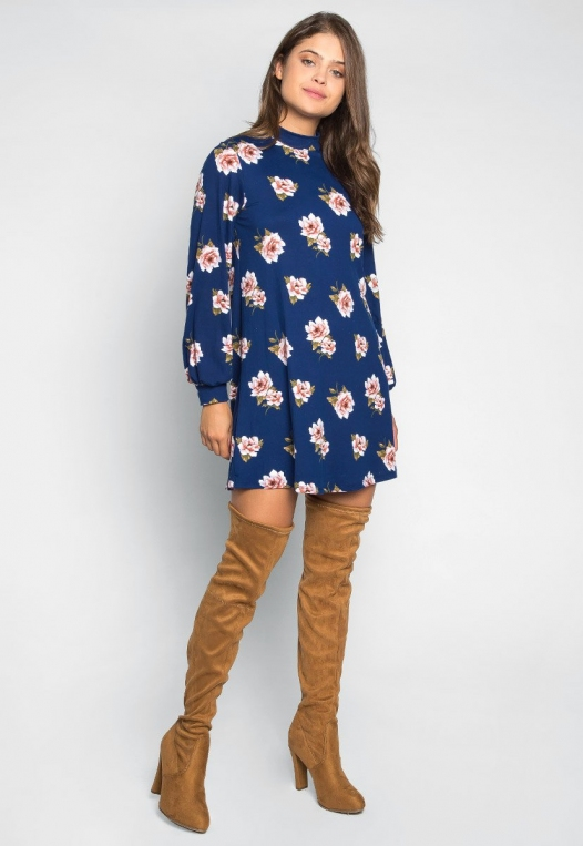 Happy Soul Floral Dress in Navy alternate img #4