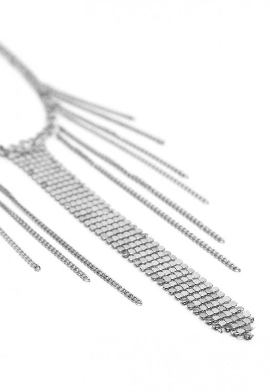 Chainmail Fringe Choker in Silver alternate img #3