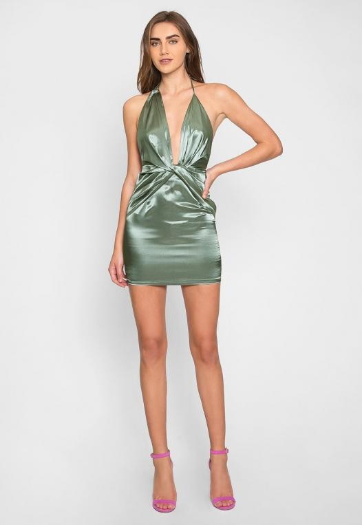 Expression Satin Plunge Mini Dress alternate img #4