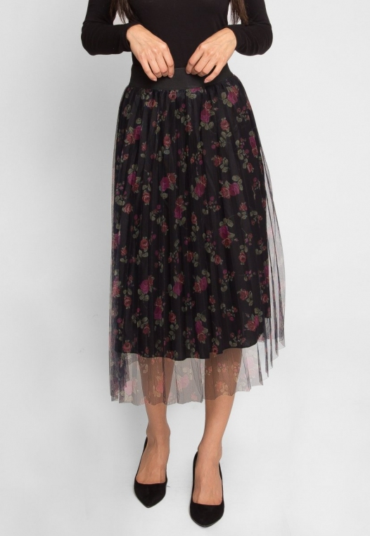 Party Pleated Mesh Floral Skirt alternate img #3