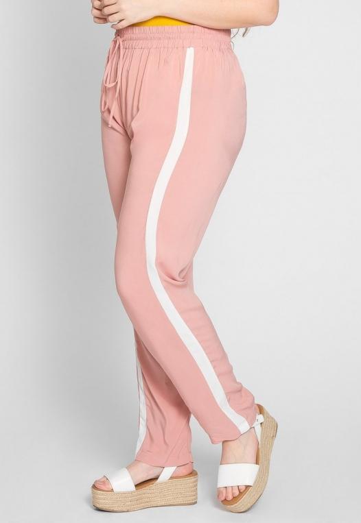 Plus Size Side Stripe Knit Pants in Blush alternate img #4
