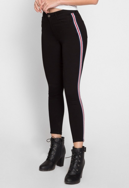 Varsity Trim Skinny Jeans in Black alternate img #5