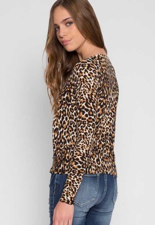 Wild Side Cardigan in Brown Leopard alternate img #4