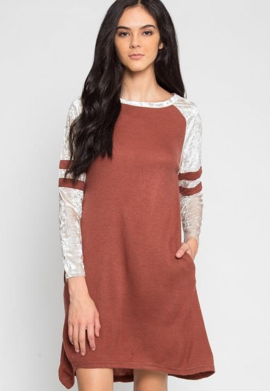 Catcher Varsity Velvet Dress in Wine alternate img #1