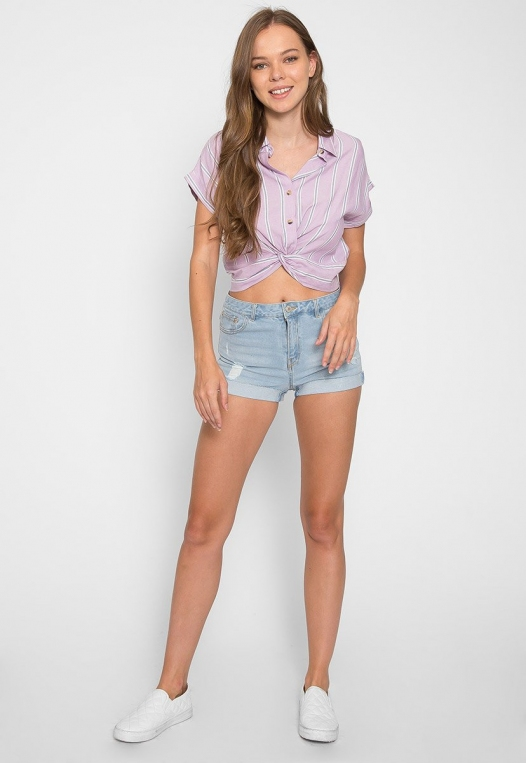 Mighty Real Stripe Crop Shirt in Lavender alternate img #4