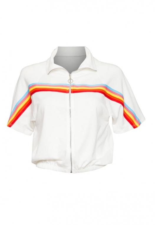Retro Rainbow Trim Track Jacket alternate img #7
