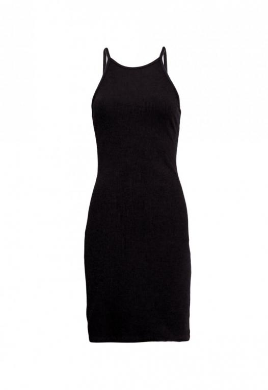 Lush Rib Knit Halter Bodycon Dress in Black alternate img #7