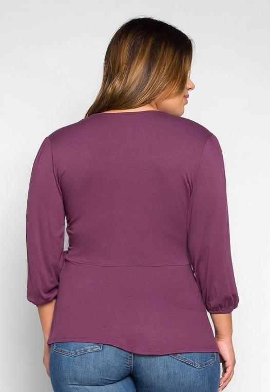 Plus Size Peony Self Tie Wrap Blouse in Purple alternate img #2