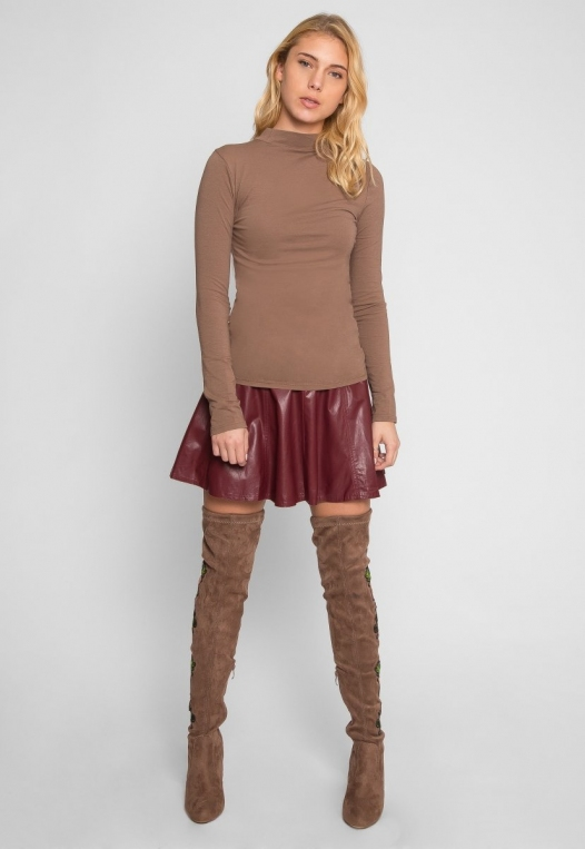 Sue Mock Neck Long Sleeve Top in Mocha alternate img #5