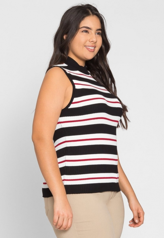 Plus Size Charger Knit Stripe Top in Red alternate img #3