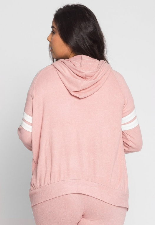 Plus Size Touchdown Zip Up Hoodie in Pink alternate img #3