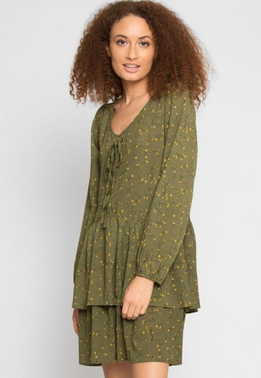 Pine Tiered Floral Dress in Olive alternate img #2