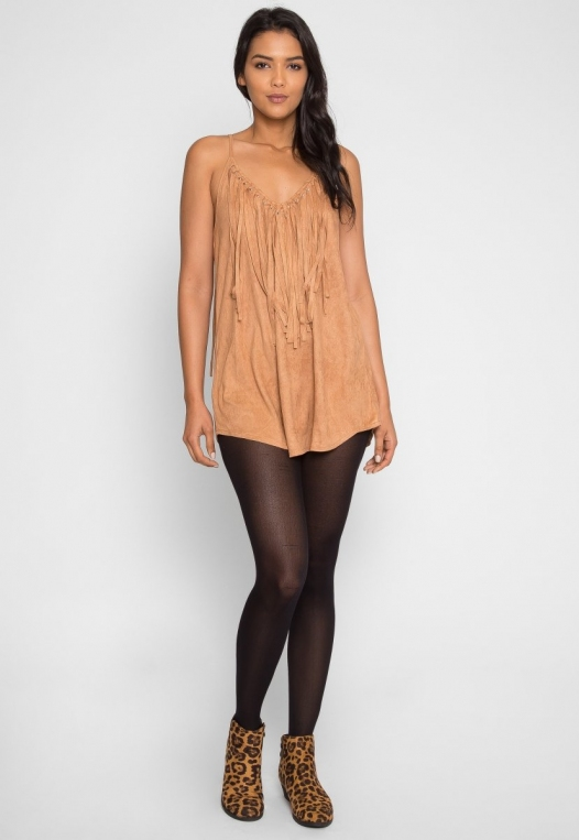 Symphony Faux Suede Dress in Taupe alternate img #4