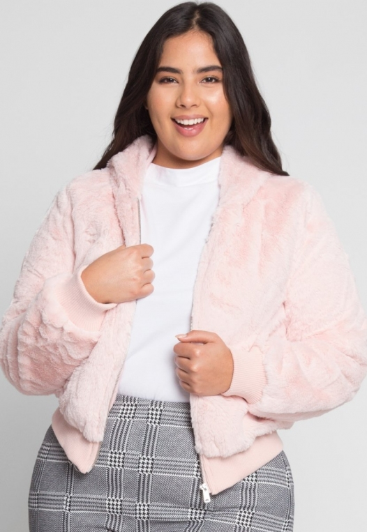 Plus Size Aspen Plush Crop Bomber Jacket alternate img #1