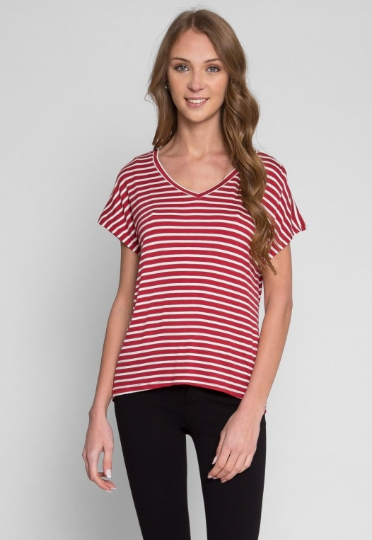 Boardwalk Games Stripe V-Neck Tee in Red alternate img #1