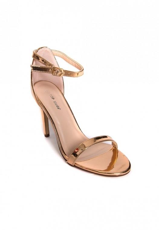 Strike Gold Metallic Ankle Strap Heels alternate img #4