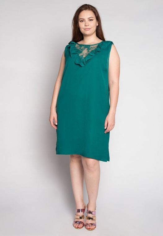 Plus Size Lavender Fields Ruffle Mini Dress in Green alternate img #4
