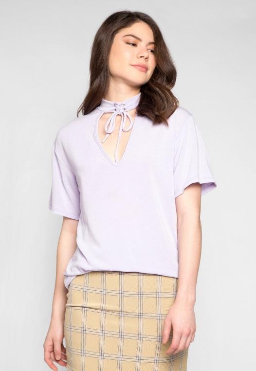 Attitude Self Tie Choker Knit Top in Lilac alternate img #1