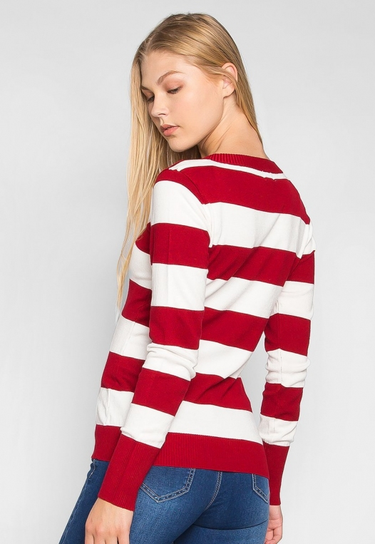 Be My Soulmate V-Neck Stripe Fitted Cardigan in Red alternate img #2
