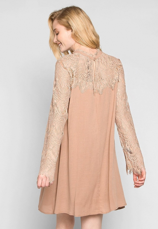 Burning For Love Lace Yoke Dress in Blush alternate img #2