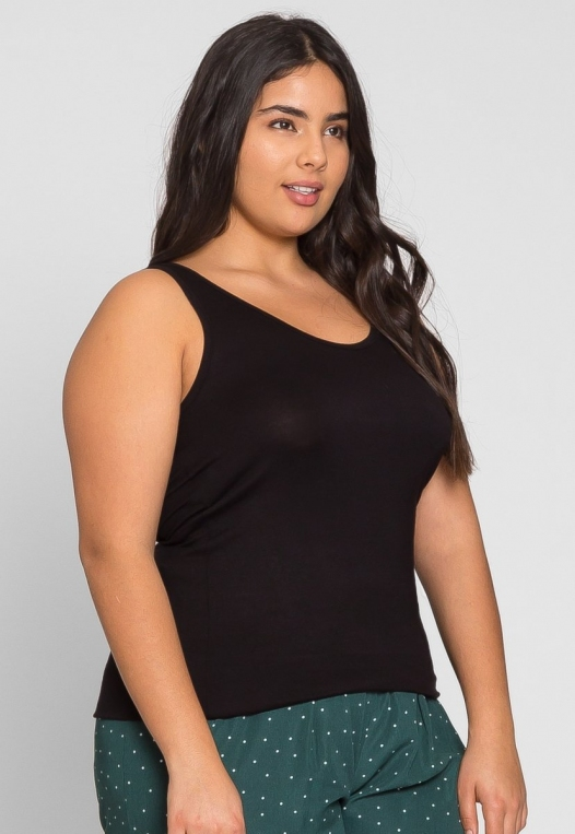 Plus Size Rachel Relaxed Tank Top in Black alternate img #2