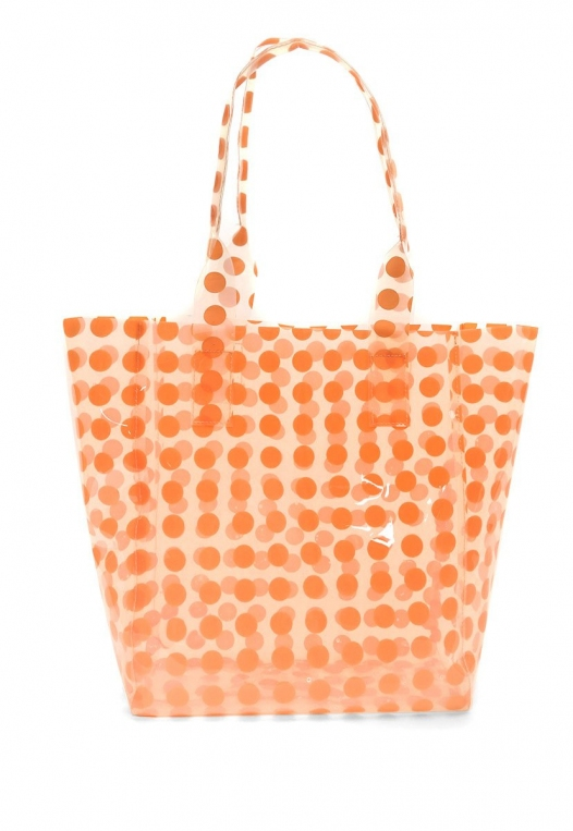 Printed Transparent Tote in Coral alternate img #3