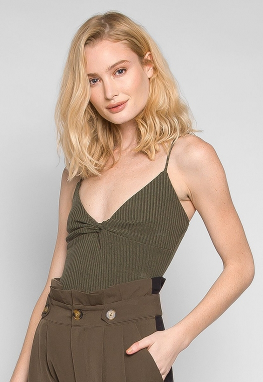 Sparrow Twisted Front Ribbed Bodysuit alternate img #3