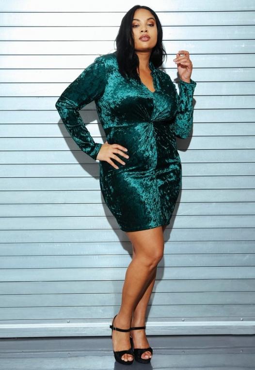 Plus Size Wild Velvet Party Dress in Green alternate img #8