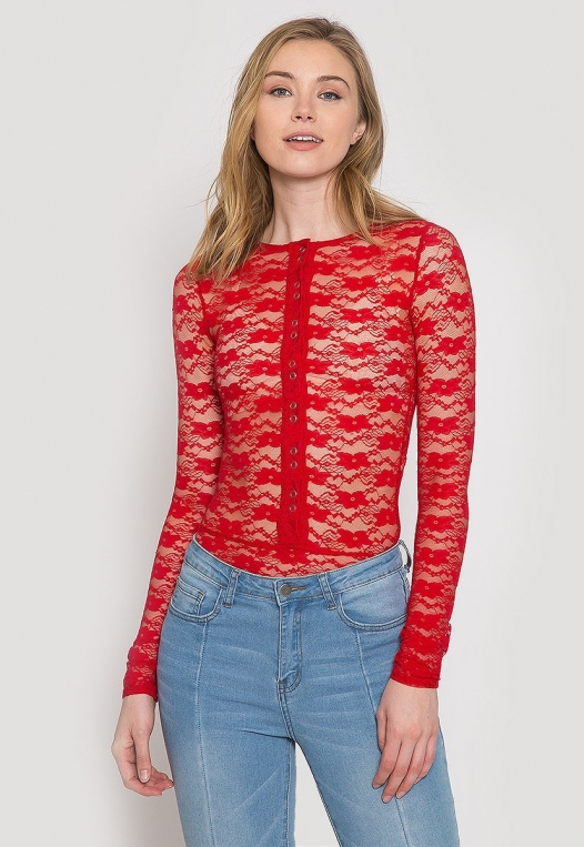 Davenport Lace Bodysuit in Red alternate img #1