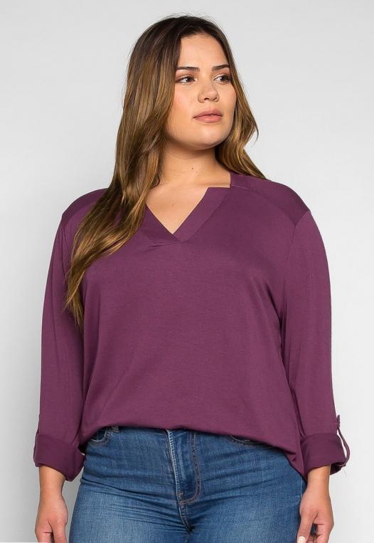 Plus Size Madeline Roll Tab Sleeve Blouse in Purple alternate img #1