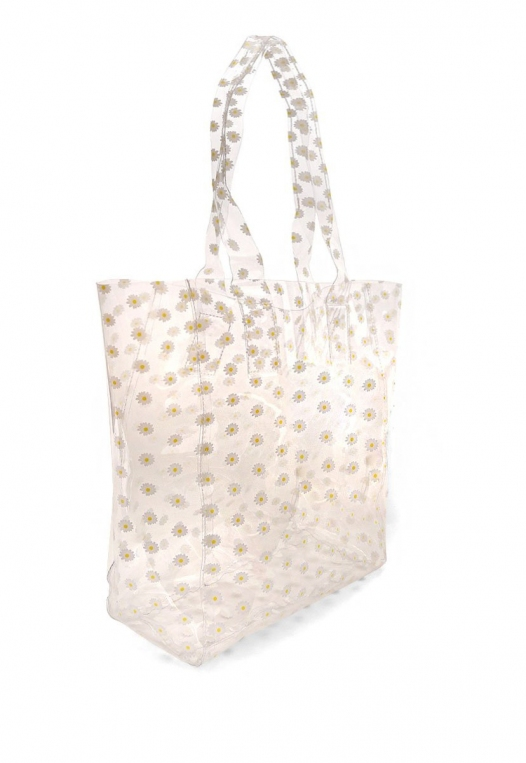 Printed Transparent Tote in White alternate img #3