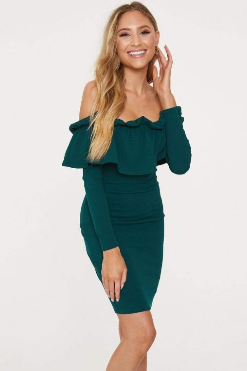 Off-The-Shoulder Flounce Long Sleeved Dress alternate img #2